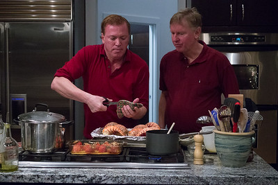 "John and Graeme preparing Xmas Day dinner - ""Surf"" and Turf""! Yumm!!"