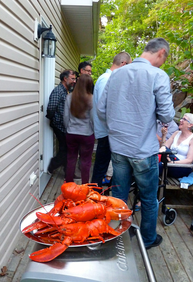 The amazing lobster dinner at Josh and Jill's (Jill seated on the right side of the photo)