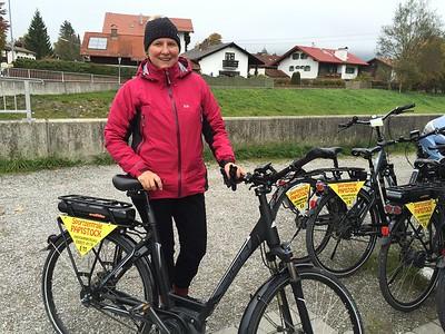 Oct 12: Annette and her first E-bike adventure in Oberammergau, Bavaria.