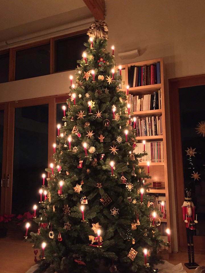 The tree, always a highlight of the Christmas season.  The tree is artificial (and fireproof) but the candles are very real.  Hope you get to joins us some year.
