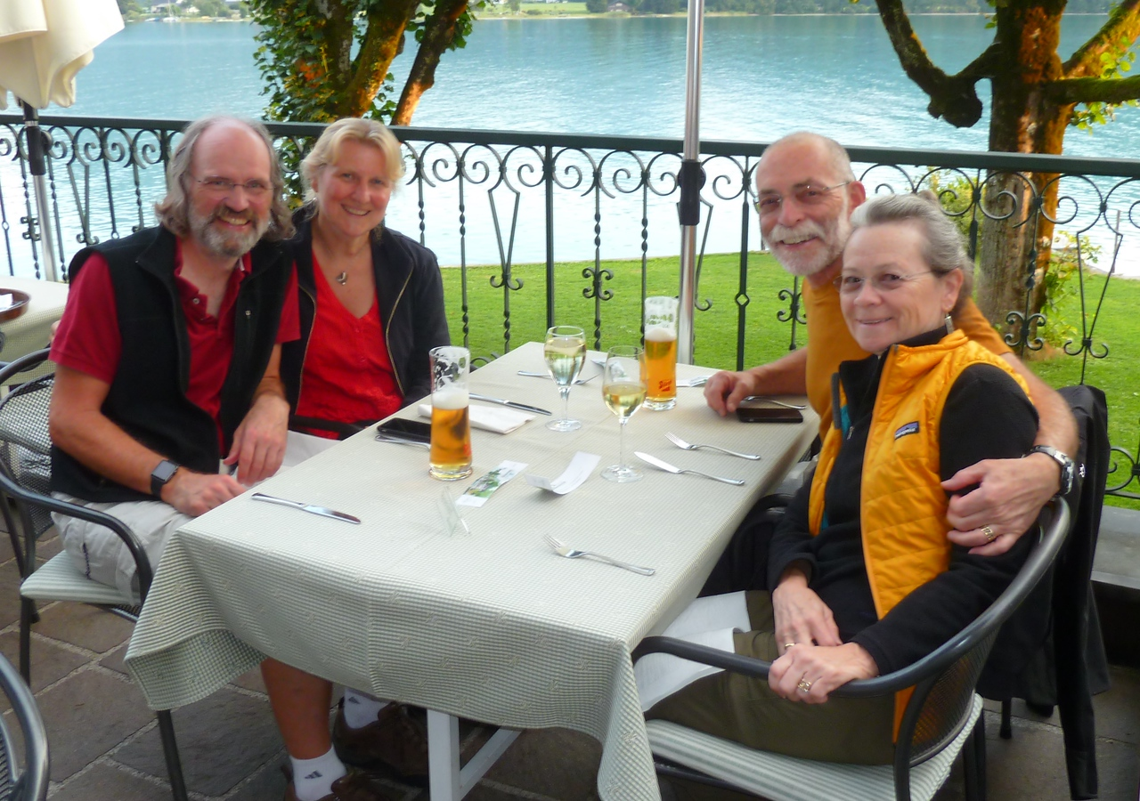 Aug 22, 2015: Rob turns 60 while we're hiking and biking in the beautiful Austrian St Wolfgang area with friends Arden and Becky. Best steamed dumplings (Germknödel) EVER!