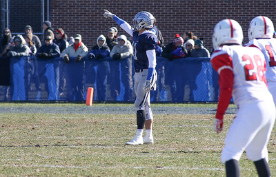 no.11, James Pendergist pre-kick off. Manasquan High School v/s Wall High School's annual Thanksgiving day game in Manasquan, NJ on 11/22/18. [DANIELLA HEMINGHAUS | THE COAST STAR]