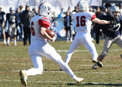 no.16, Colin Riley blocking for no.6, Dale McNally. Manasquan High School v/s Wall High School's annual Thanksgiving day game in Manasquan, NJ on 11/22/18. [DANIELLA HEMINGHAUS | THE COAST STAR]