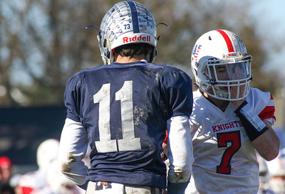 Manasquan no.11, James Pendergist and Wall no.7, Dylan Richey. Manasquan High School v/s Wall High School's annual Thanksgiving day game in Manasquan, NJ on 11/22/18. [DANIELLA HEMINGHAUS | THE COAST STAR]