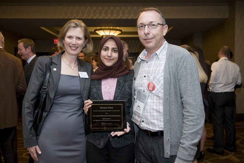 AOF - Carl Zeiss Fellow reception, AOF Board member, Kathy Dumbleton, Fellow Mariam Nahal, and John Flanagan