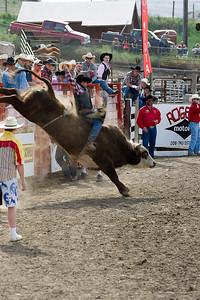 Bull tries to lose cowboy