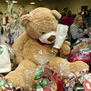 State Rep. Jim Arciero held his annual Sun Santa/Toys for Tots fundraiser at the Franco American Club in Westford on Thursday night, December 7, 2017. On of the items at the event was this very big teddy bear. SUN/JOHN LOVE