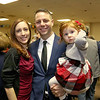 State Rep. Jim Arciero held his annual Sun Santa/Toys for Tots fundraiser at the Franco American Club in Westford on Thursday night, December 7, 2017. Jim Arciero with his wife Bridget and daughter Angelina, 1. SUN/JOHN LOVE