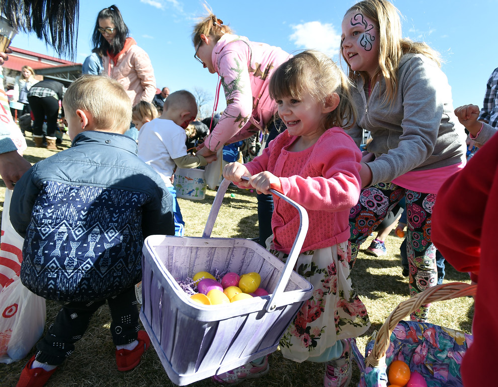 . The kids in the 3 and under group collect eggs during the 8th Annual White Fields Community Church Easter Egg Hunt at Roosevelt Park in Longmont on Saturday. Cliff Grassmick  Photographer  March 31, 2018