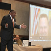 H&FF Host Paul Berry talks to the audience and the show's first guest Senator Jon Tester, who joined the show via Skype.