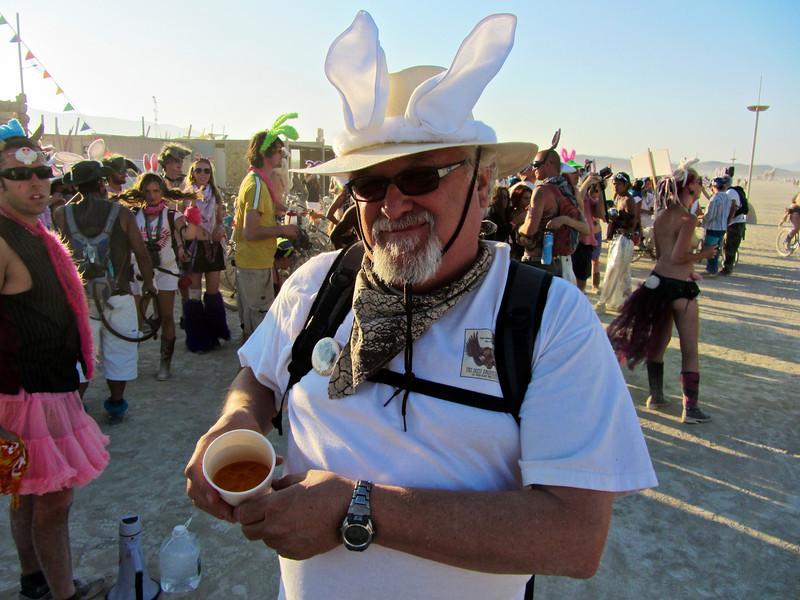 """Keith at Burning Man Billion Bunny March enjoying the """"Carrot Juice"""""""