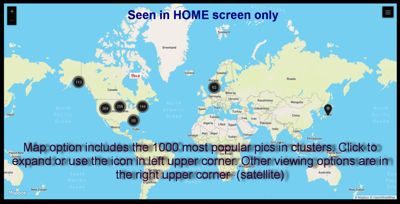 A map option appears in the home screen to allow browsing by location