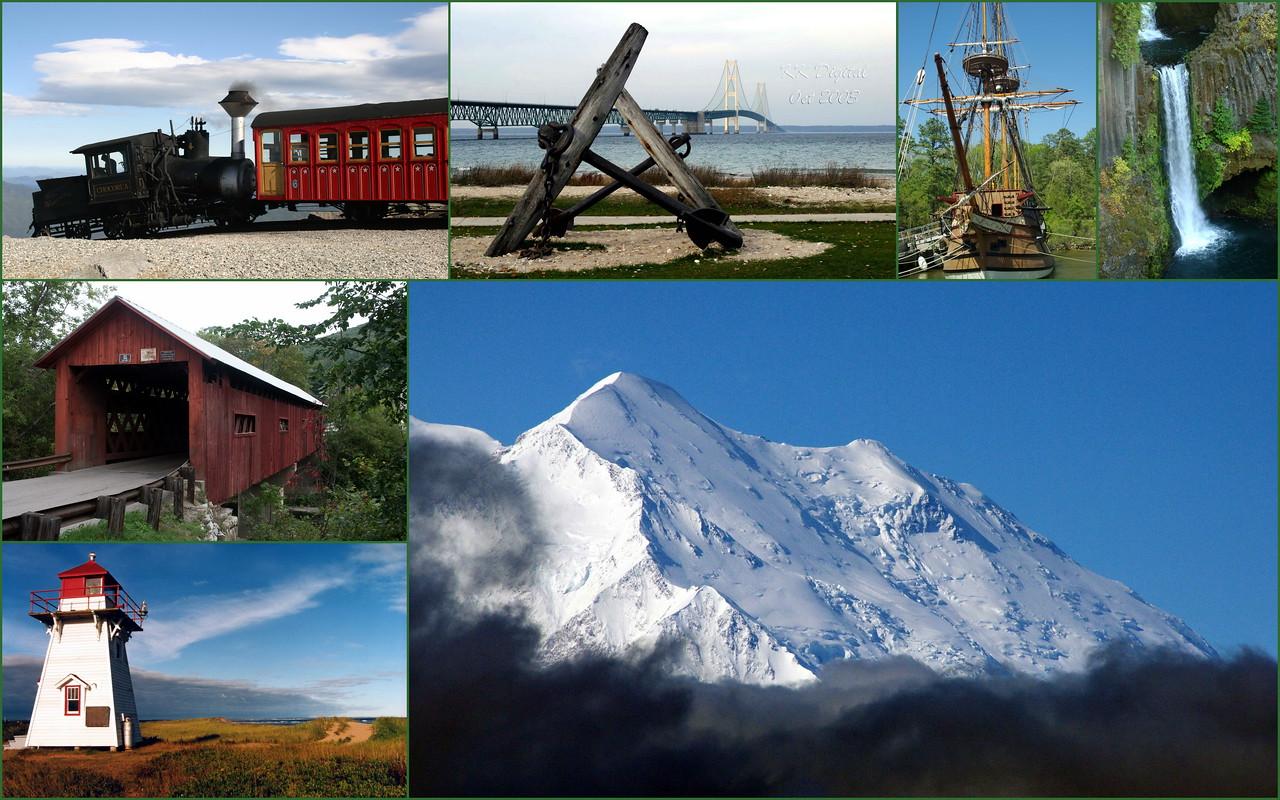 Mt Washington, Mackinaw Bridge, Jamestown,VA, Oregon, Vermont, Prince Edward Island, Denali National Park, Alaska