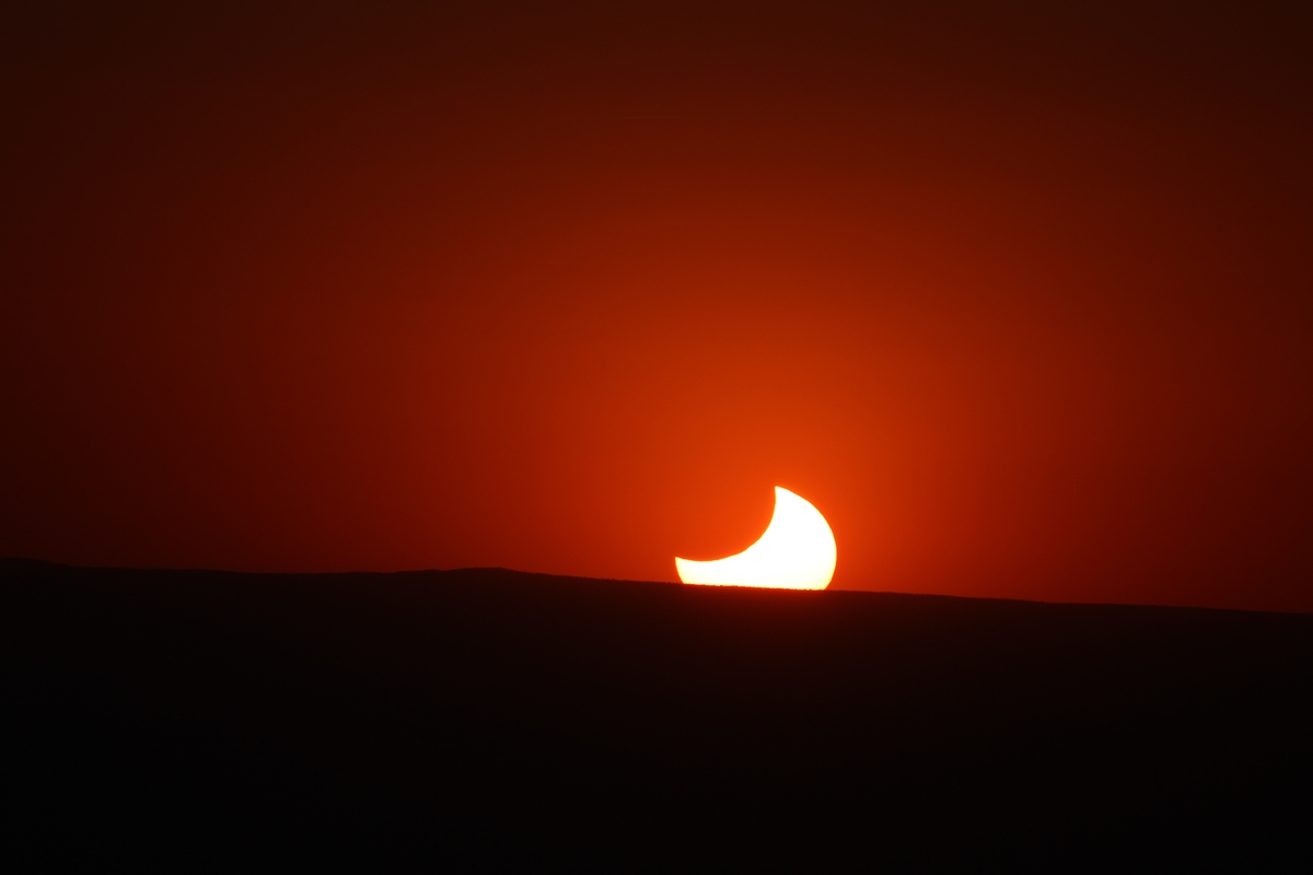 Eclipse at sunset
