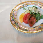 The First Course was heirloom tomatoes with arugula & fennel.
