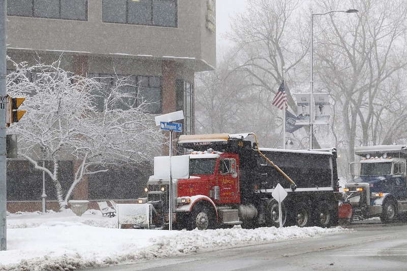 Another storm hit the north central region on Tuesday less then a week after the last storm that dropped 18+ inches on the region. DPW trucks, in Monument Square in Leominster, work on keeping the roads clear. SENTINEL & ENTERPRISE/JOHN LOVE
