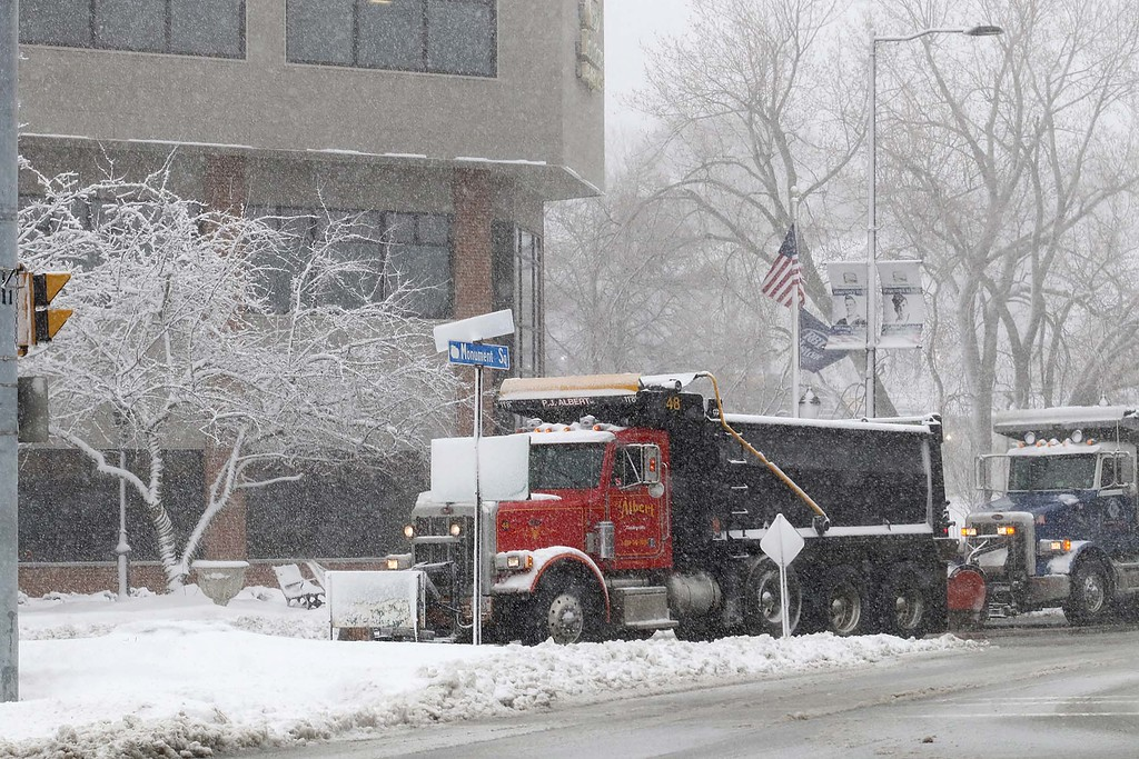 . Another storm hit the north central region on Tuesday less then a week after the last storm that dropped 18+ inches on the region. DPW trucks, in Monument Square in Leominster, work on keeping the roads clear. SENTINEL & ENTERPRISE/JOHN LOVE