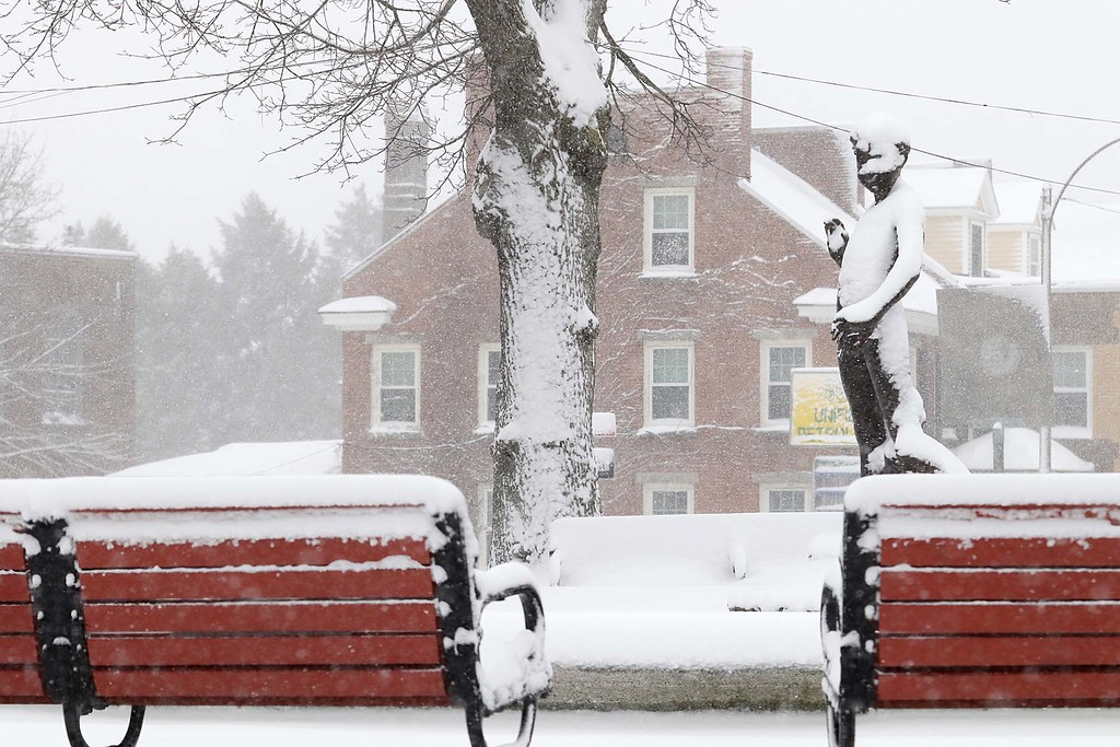 . Another storm hit the north central region on Tuesday less then a week after the last storm that dropped 18+ inches on the region. The snow was covering everything even the statue on the Upper Common in Fitchburg that sits in the middle of the fountain. SENTINEL & ENTERPRISE/JOHN LOVE