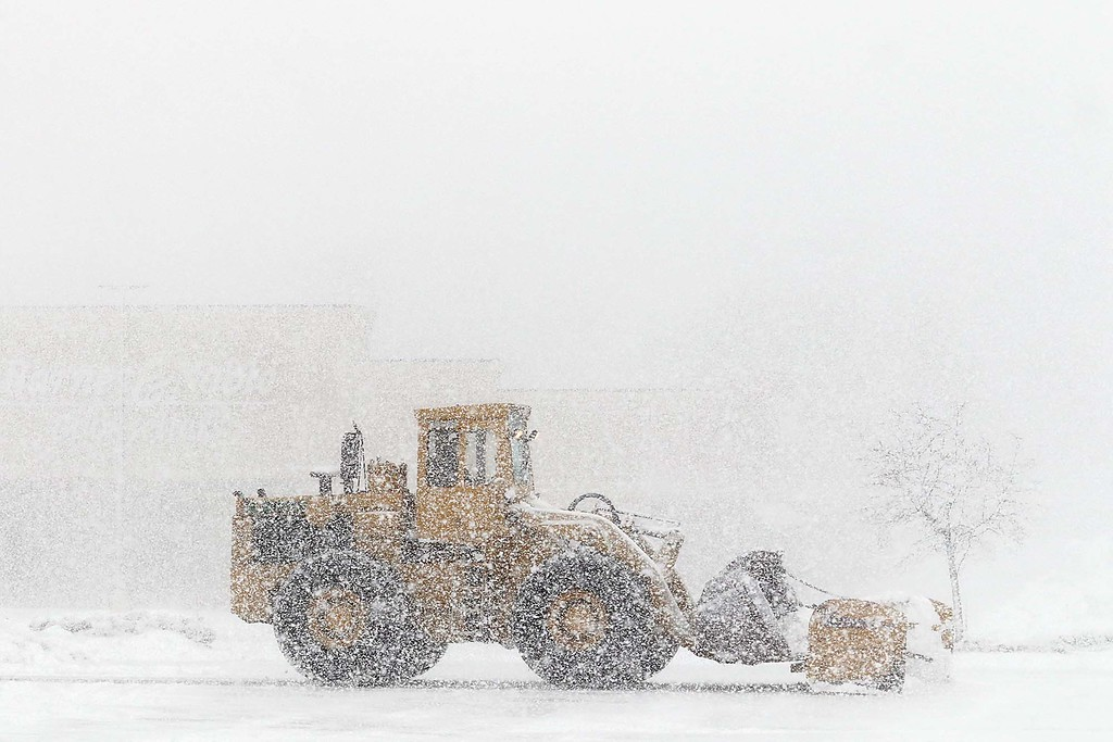. Another storm hit the north central region on Tuesday less then a week after the last storm that dropped 18+ inches on the region. This truck plowing the parking lot in front of Shaws in Leominster was bearly visible as the storm started to become worse around 1 p.m. SENTINEL & ENTERPRISE/JOHN LOVE