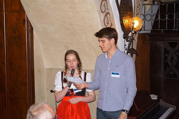 A high school foreign exchange student in Germany giving a speech in Bavaria, Germany in a traditional dirndl