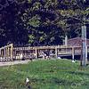 An0043 <br /> Toegang en hekwerk rondom de kinderboerderij in Park Rusthoff, het voormalige landgoed van de familie Charbon. Sinds 1917 eigendom van de gemeente Sassenheim en ingericht als wandelpark. Foto: 1978.