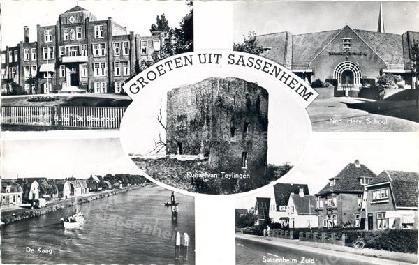 An0021 <br /> Een compilatiekaart met 5 afbeeldingen: Huize 'St. Bernardus'; Ned. Hervormde school; De Kaag (ringvaart en Lisserdijk); Sassenheim zuid; Ruïne van Teijlingen. Foto: begin jaren '60.