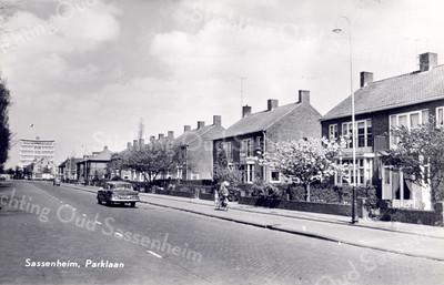 An0015 <br /> Gezicht op de Parklaan in noordelijke richting. In de verte de flat van Schulte & Lestraden. Foto: jaren '60.