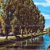 An0032 <br /> Zandsloot met links de Postwijkkade en aan weerszijden populieren. Enkele bootjes op de kant en de schuur van Gebr. Doornbosch & Co op de achtergrond, gezien in westelijke richting. De populieren zijn in 1990 gerooid en vervangen door aan weerszijden verschillend geboomte te planten . Foto: vóór 1990