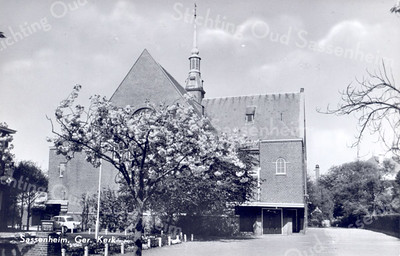 An0001 <br /> Gereformeerde kerk in de Julianalaan, gebouwd in 1911 door architect Th. Anema. Verbouwd in 1927/28 door architect B.T. Boeijinga. Foto: begin jaren '60.