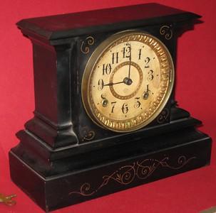 Ansonia Black Iron Mantel Clock