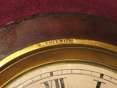 Patent date on dial pan: PAT MAR. 21 - 76