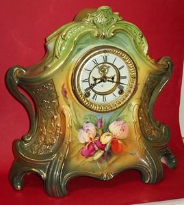 Ansonia La Layon Royal Bonn Porcelain China Mantel Clock