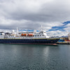 The National Geographic Explorer,  moored in Ushuaia, Argentina, the world's southernmost city.  The vessel is considered one of the world's finest exploration vessels.