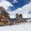 Chinstrap Penguins (Pygoscelis antarctica) rookery on the cliffs of Half Moon Island, north of the Burgas Peninsula on Livingston Island, South Shetland Islands, Antarctica.