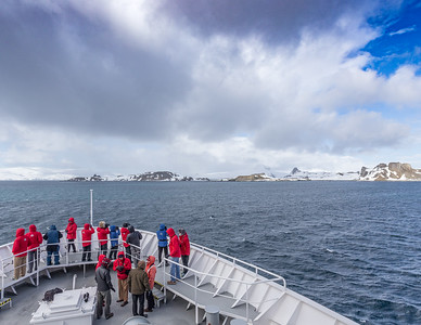 Land Ahoy! Approaching Antarctica's South Shetland Islands aboard the National Geographic Explorer.