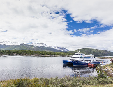 The Ushuaia Explorer, the vessel used to tour Bahia Lapatia in Tierra del Fuego National Park.  Moored near Ushuaia, Argentina - the world's southernmost city.