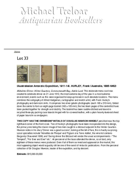 Description of Lot 33, Michael Treloar Auction, Adelaide, South Australia, December 11, 2011.