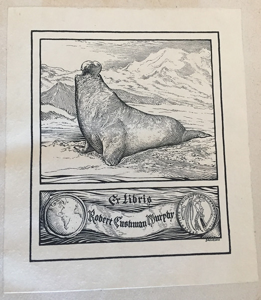 The bookplate of Robert Cushman Murphy. This is within a book owned by Richard Dehmel. November 2017.