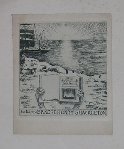 Ernest Henry Shackleton. Produced on spec but never used. A copy of the Aurora Australis is being held up.