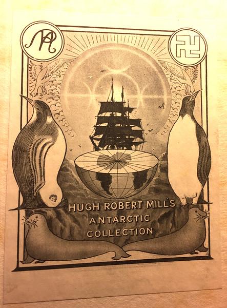 Bookplate of Hugh Robert Mill. December 2, 2019.