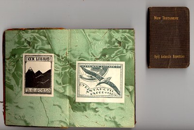 Bookplates within a bible from the Byrd Antarctic Expedition.