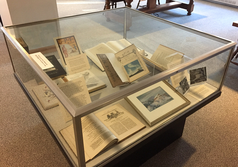 Special Collections Reading Room. An assortment of expedition publications: the South Georgia Gazette, Aurora Australis,  South Polar Times, and the Adelie Blizzard. The watercolor is by Lucia deLeiris and shows the hut at Cape Royds where the Aurora Australis was written, edited, illustrated, printed, bound and printed. January 26, 2018.