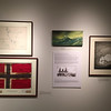 University Museum. The Norwegian flag was carried by Amundsen over the North Pole and to the South Pole. Above is a map showing his route to the South Pole. The painting in the center is by Lucia deLeiris and shows the James Caird in heavy seas. On the right is what probably is a publicity view for Shackleton's Endurance expedition. January 26, 2018.