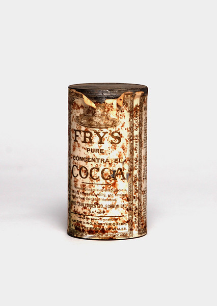 Unopened tin of Fry's cocoa from Shackleton's Cape Royds' hut.  Photo by UNH.