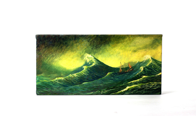 Painting of the James Caird by Lucia deLeiris.  Photo by UNH.