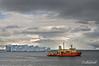 Nathan-B-Palmer-in -Neko-Harbour-at-sunset,-Antarctic-Peninsula