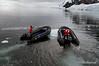 Neko Harbour-zodiacs-herding-icepan,-Antarctic Peninsula