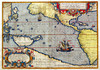 """One of the most famous atlas maps ever produced, the first to focus on the Pacific Ocean, and important for its inclusion of the Americas, Japan, South East Asia and Antarctica. Magellan's ship, the Victoria, is shown in the Pacific as it circumnavigates the globe. Unusually for Ortelius, no source for this famous map is cited on the map itself, although the cartographic source is chiefly Mercator's world map of 1569. The delineation of the Pacific is dominated by the large island of New Guinea, the great southern Continent and the depiction of Magellan's flagship the """"Victoria"""", with the quatrain """"It was I who first circled the world, my sails flying. You, Magellan, I led to your new found strait; by right am I called Victoria; mine are the sails and the wings, the prize and the glory, the struggle and the sea"""". An attractive example with small areas of paper reinforcement and slight age toning, nevertheless a very acceptable copy of a great map. Latin text on the reverse. Ref: Burden, The Mapping Of North America, 74.<br /> region: Australasia & Pacific<br /> mapmaker: A.Ortelius<br /> place and date of publication: Antwerp 1590-1603<br /> medium and colour: copperplate, Original colour<br /> size in cms: 49 x 34<br /> ref: 31856<br /> price: £ 6500"""