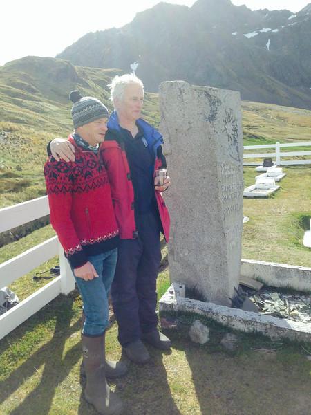 Falcon Scott and Jonathan Shackleton at Shackleton's grave, South Georgia.