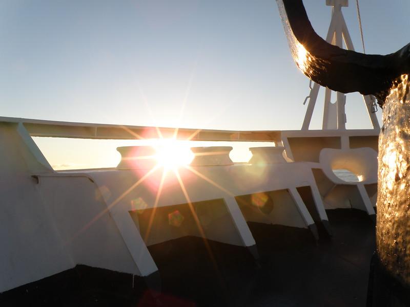Sun through the bow of the Ocean Diamond
